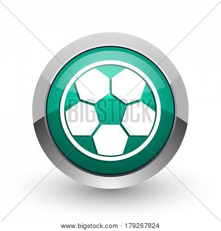 Soccer silver metallic chrome web design green round internet icon with shadow on white background.
