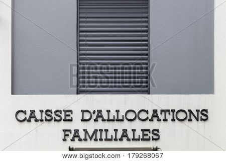 Vienne, France - October 22, 2016: Caisse d'allocations familailes or CAF is the family branch of French social security