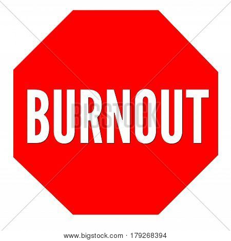 Red burnout sign with a white background