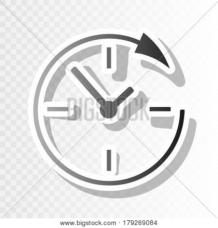 Service and support for customers around the clock and 24 hours. Vector. New year blackish icon on transparent background with transition.