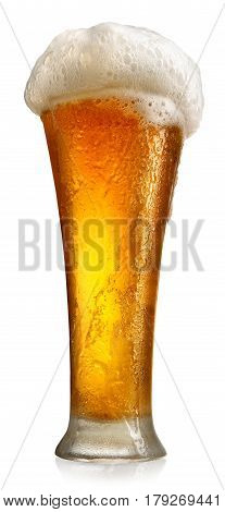 Tumbler with beer isolated on a white background
