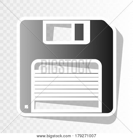Floppy disk sign. Vector. New year blackish icon on transparent background with transition.