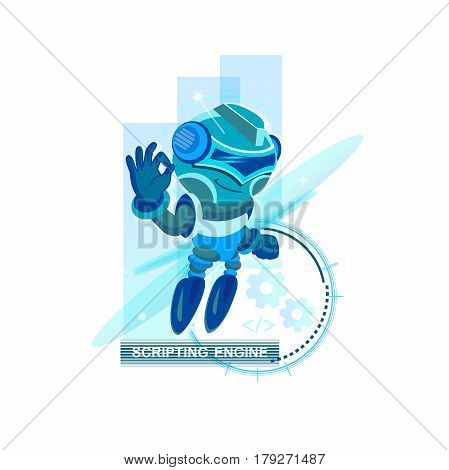 Blue Robot. concept of cyborg ai, irc, chatter box, engine, networking, android, droid, communication. flat style trend modern graphic design element on white background