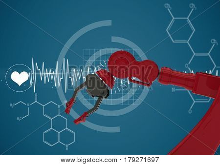 Digital composite of Red robot claw against white medical interface and blue background