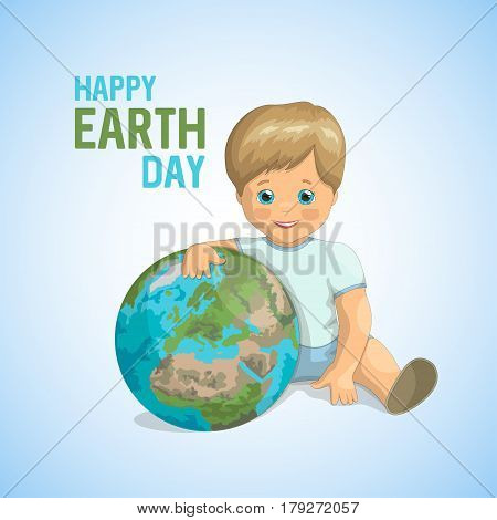 Conceptual ecological banner for World Earth Day. A little boy with blue eyes is sitting and hugging the planet Earth on blue background, taking care of the environment. Vector illustration