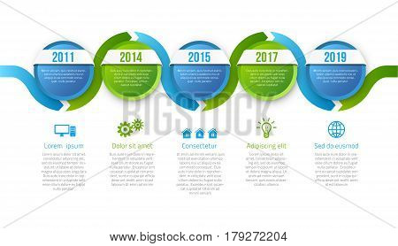 Infographics with 5 steps years or options, blue green calm corporate design, vector template