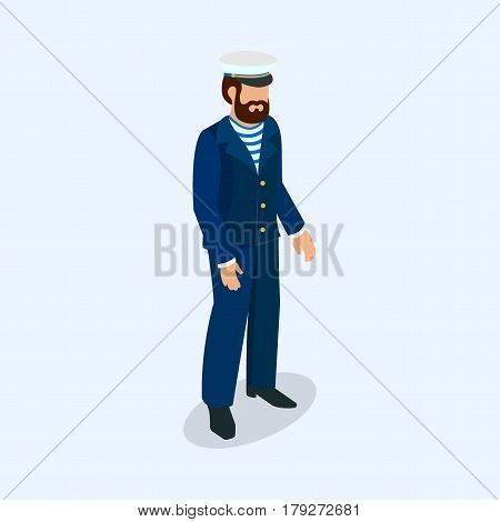 Captain of a sea voyage as a professional business concept 3d isometric vector illustration