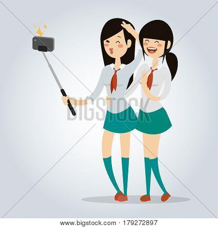 Selfie teenager school girls couple vector illustration. Take selfie friends. Selfie japanese school girls in uniform selfie photo camera.