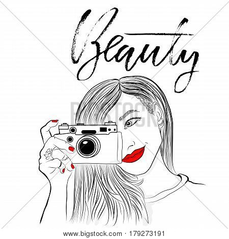 Monochrome vector illustration. Beautiful girl with red lips and nails. Smiling photographer old camera. Beauty. Dry brush lettering. Handdrawn inscription