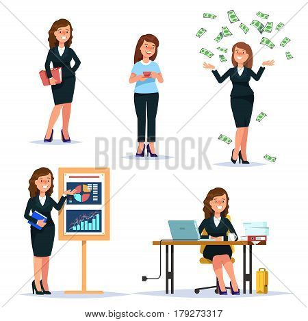 Vector illustration set young business woman characters and situations. Presentation workplace money falling secretary cartoon flat style isolated background
