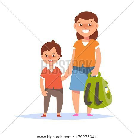 Vector illustration of mother and son elementary schoolboy go to school on white background flat cartoon style. Back to school concept
