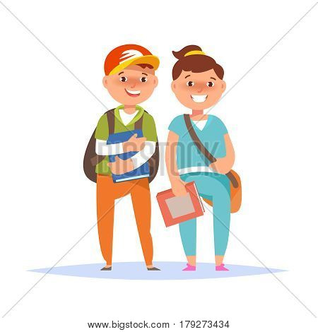 Vector illustration of happy couple student schoolboy and schoolgirl standing with book and backpack isolated. Back to school concept
