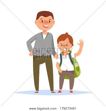 Vector illustration of father and son elementary schoolboy go to school on white background flat cartoon style. Back to school concept