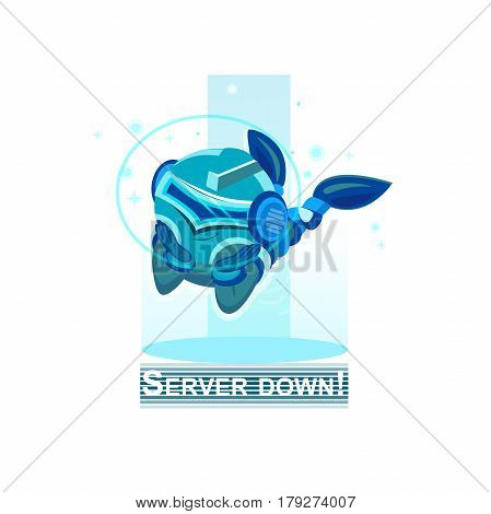 Blue character Server down. Blue Robot. Chatbot vector illustration. Thumbs up, chatbot or chatbot