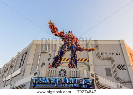 ORLANDO, USA - JANUARY 05, 2017: The statue of Optimas Prime robot at Universal Studios in Orlando USA. Optimus Prime is a character from the Transformers franchise.