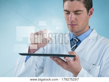 Digital composite of Man in lab coat holding up tablet with square interface against blue background