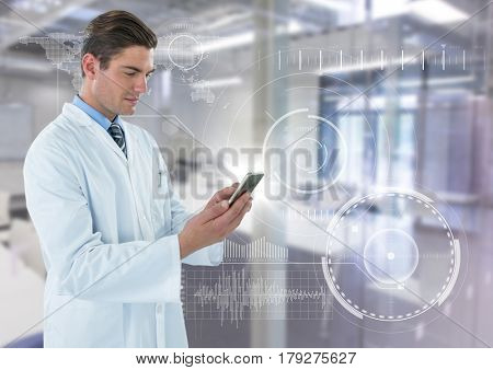 Digital composite of Man in lab coat with phone and flare against white interface and blurry lab