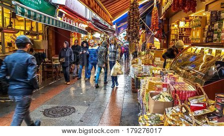 Istanbul, Turkey - December 24, 2016: View Of Kadikoy Street Bazaar