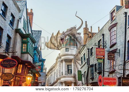 ORLANDO, USA - JANUARY 05, 2017: The Wizarding World of Harry Potter at Universal Studios Orlando. Universal Studios Orlando is a theme park resort in Orlando Florida.