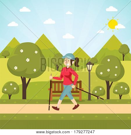 Traveler woman. Woman hiking over mountain background. Vector stock.