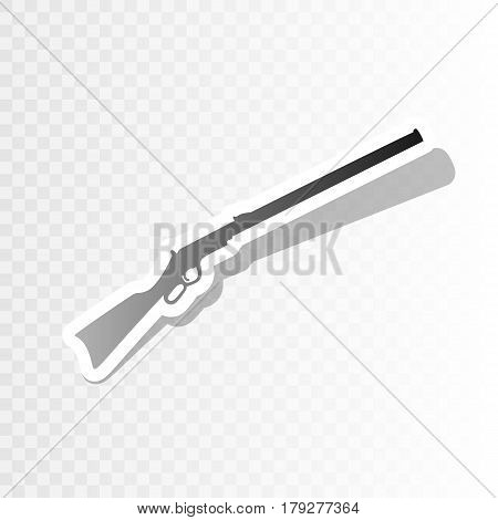Hunting rifle icon vector illustration. Silhouette gun. Vector. New year blackish icon on transparent background with transition.