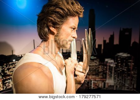 Bangkok -jan 29: A Waxwork Of Wolverine On Display At Madame Tussauds On January 29, 2016 In Bangkok