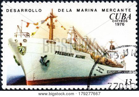 UKRAINE - CIRCA 2017: A postage stamp printed in Cuba shows ship Presidente Allende from the series History and development of ships circa 1976