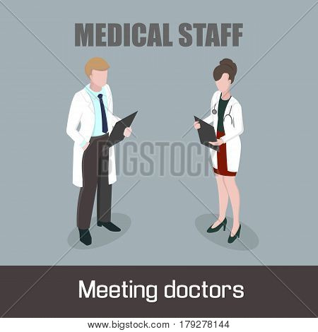 Medical staff Meeting doctors 3d isometric disign vector illustration