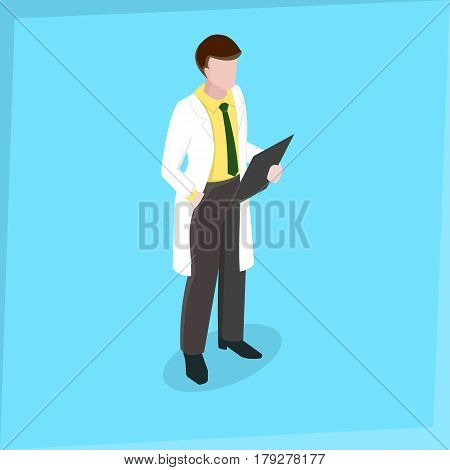 Medical staff Man Doctor Medical examination Isometric 3d disign Vector illustration