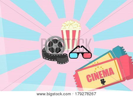 Cinema illustration spool with film tape cinema theater popcorn can and tickets. Vector illustration.