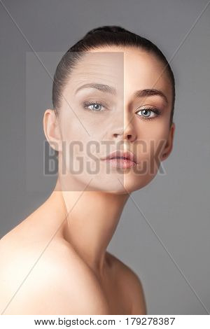 Beautiful woman changing skin - the lifting and beauty concept