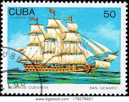 UKRAINE - CIRCA 2017: A postage stamp printed in Cuba shows sailing ship San Genaro from the series Cuban sailboats circa 1989