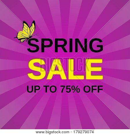 Sale web sticker. Vector banner. Spring discount label. Template design background.