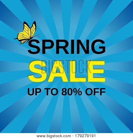 Sale banner. Vector. Spring discount label. Template design background.