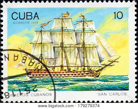 UKRAINE - CIRCA 2017: A postage stamp printed in Cuba shows sailing ship San Carlos from the series Cuban sailboats circa 1989