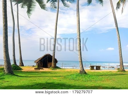 Old shack on the coast of Indian ocean