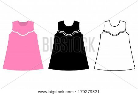 Baby dress icon. Black linear symbol clothes. Vector illustration. Child apparel for girls in flat design.