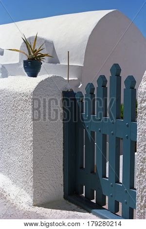 Wicket of traditional house in Oia village, Santorini island, Greece.