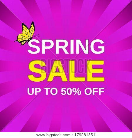 Sale banner. Vector. Spring discount label. Template web design background.