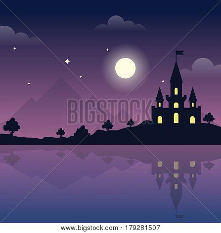 Moonlight in the night. Castle vector illustration
