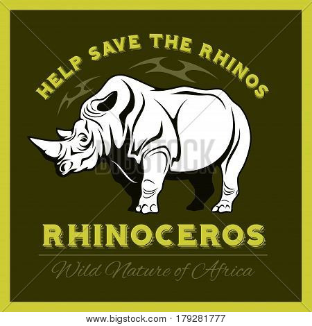 Help save and protect the endangered Rhinos from illegal hunting icon emblem. Vector illustration.