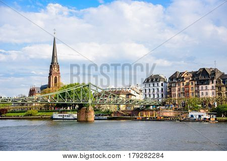 The River Main In Frankfurt From Above, Germany.