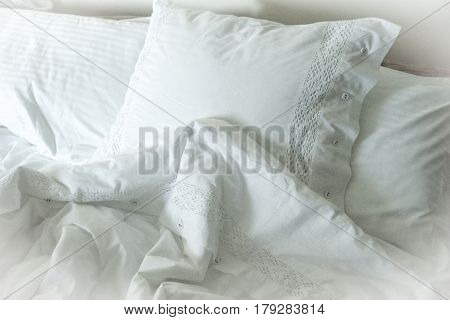 White Embroidered Linens, Pillows And Blankets