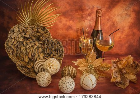 Still Life With Christmas Decoration, Champagne And Sparklers
