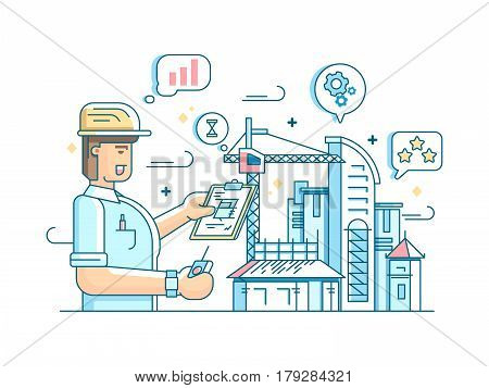 Foreman controls construction of building. Command and control processes. Vector illustration