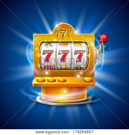 Golden slot machine wins the jackpot. Isolated on blue background. Vector