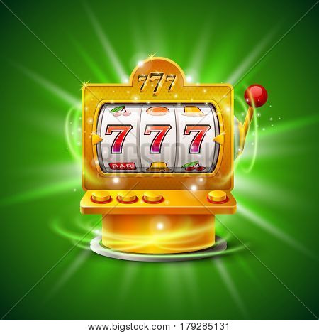Golden slot machine wins the jackpot. Isolated on green background. Vector