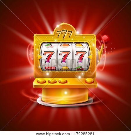 Golden slot machine wins the jackpot. Isolated on red background. Vector