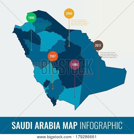 Saudi Arabia map infographic template. All regions are selectable. Vector illustration