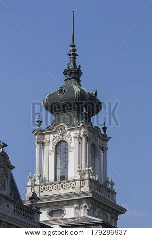 Elements Of The Castle Of Festetics Against The Blue Sky In The Town Of Keszthely. Hungary. It's Bar